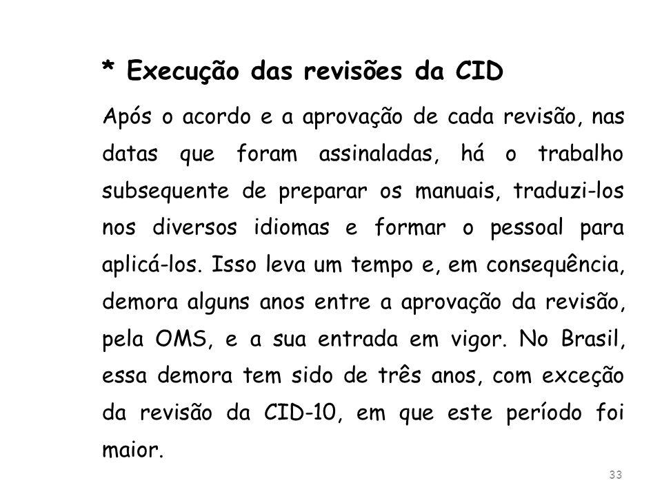 * Execução das revisões da CID