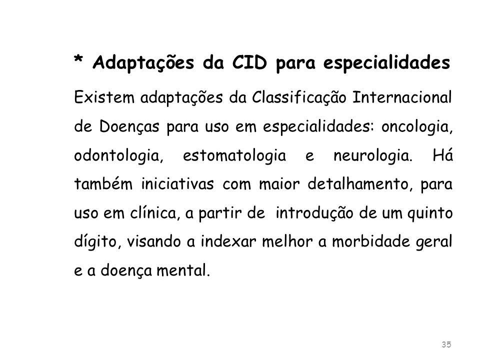 * Adaptações da CID para especialidades