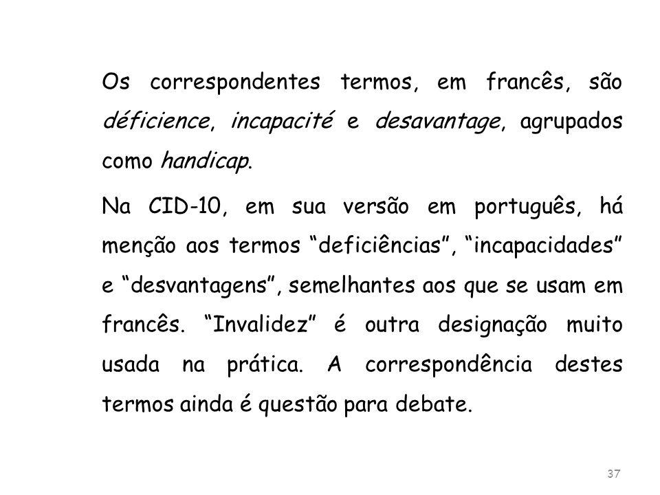 Os correspondentes termos, em francês, são déficience, incapacité e desavantage, agrupados como handicap.