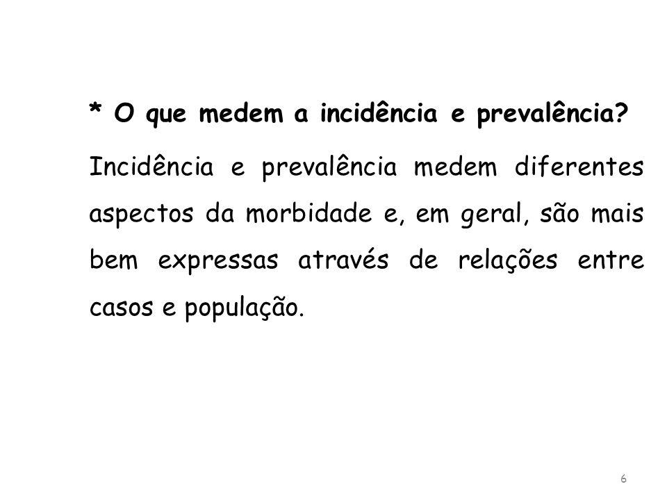* O que medem a incidência e prevalência
