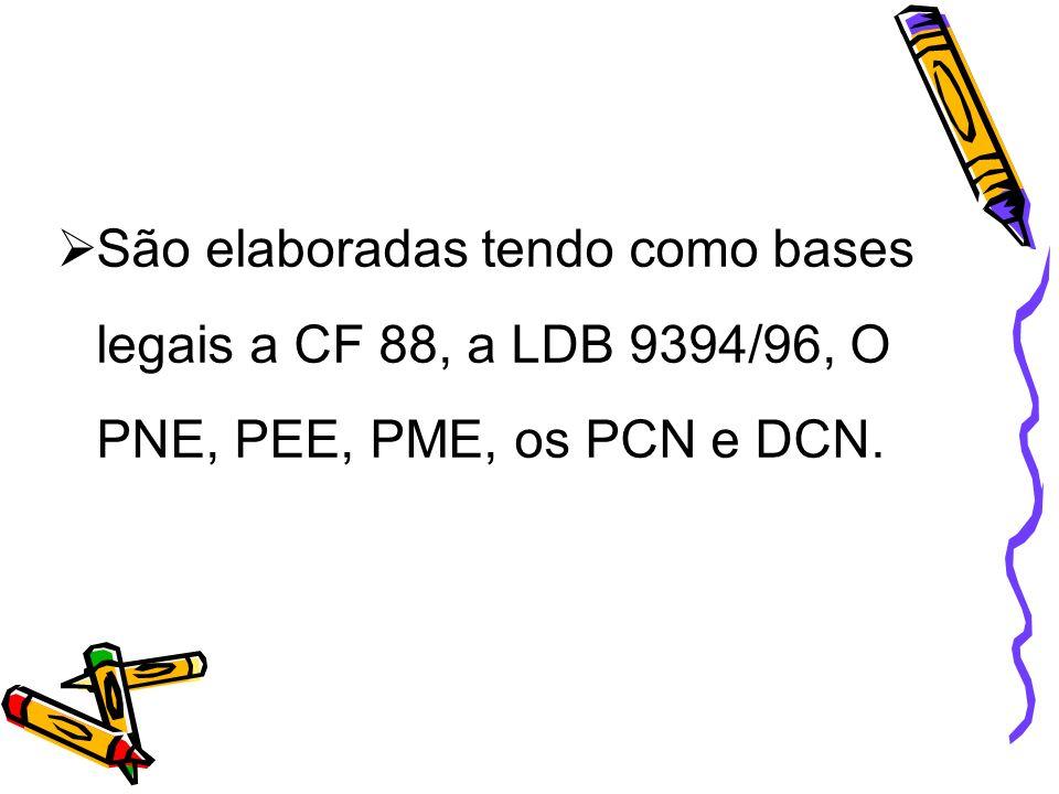 São elaboradas tendo como bases legais a CF 88, a LDB 9394/96, O PNE, PEE, PME, os PCN e DCN.