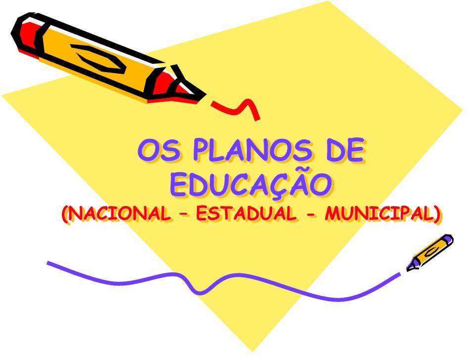 OS PLANOS DE EDUCAÇÃO (NACIONAL – ESTADUAL - MUNICIPAL)