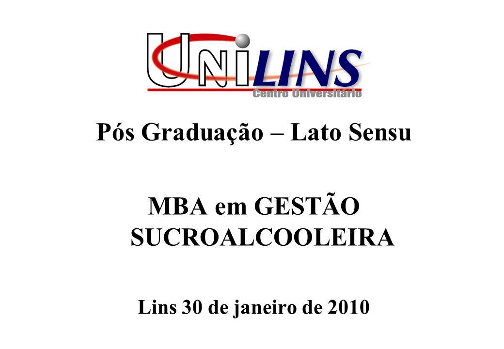 Pós Graduação – Lato Sensu MBA em GESTÃO SUCROALCOOLEIRA