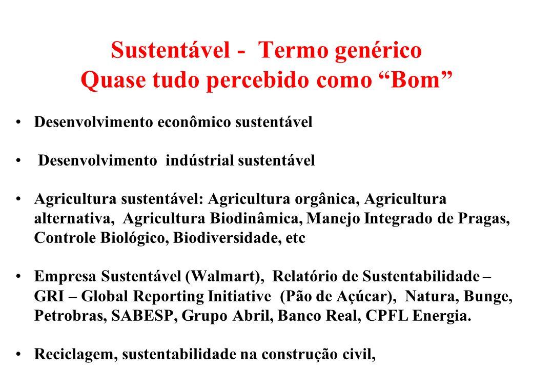 Sustentável - Termo genérico Quase tudo percebido como Bom