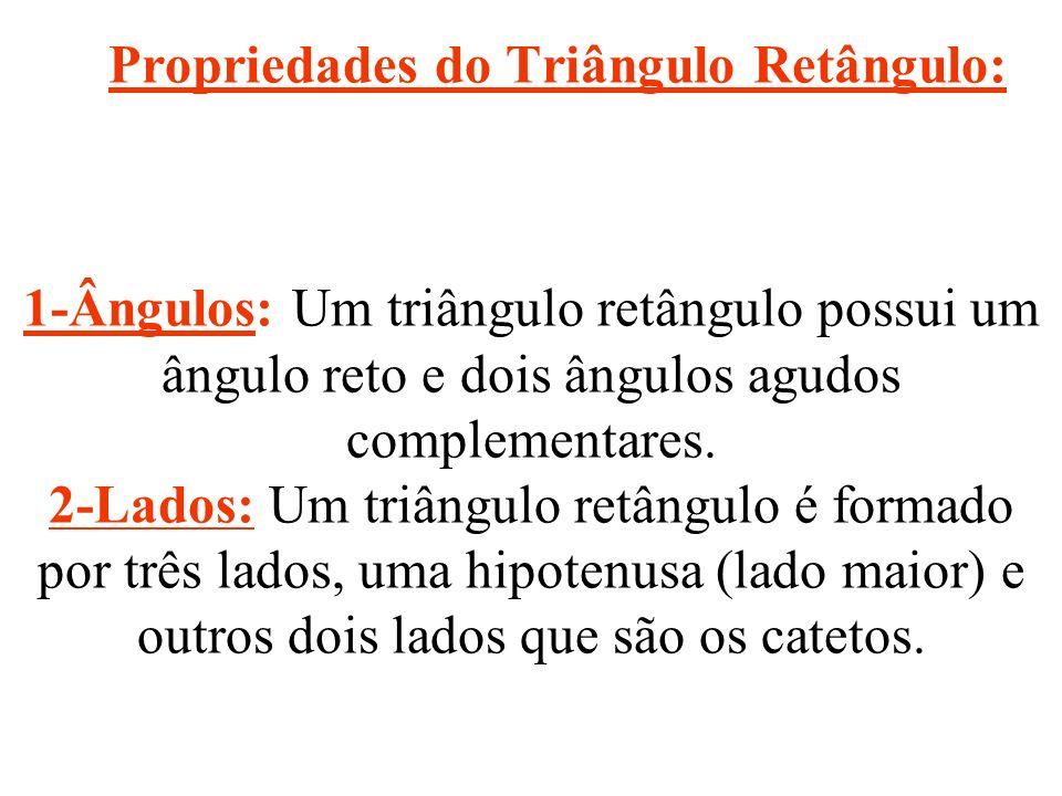 Propriedades do Triângulo Retângulo: 1-Ângulos: Um triângulo retângulo possui um ângulo reto e dois ângulos agudos complementares.