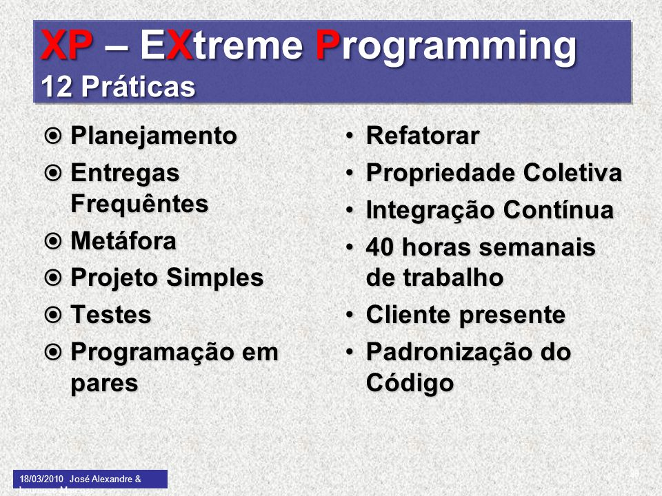 XP – EXtreme Programming 12 Práticas