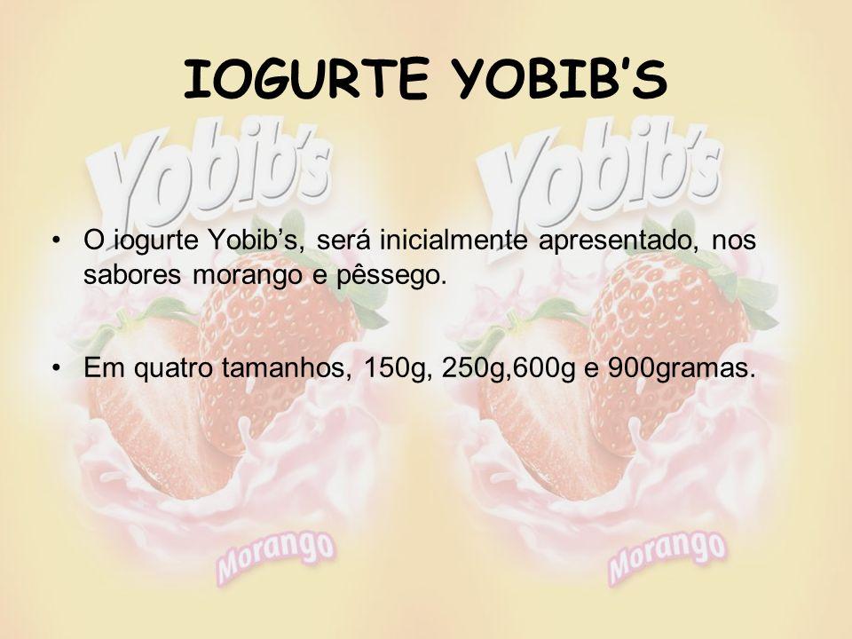 IOGURTE YOBIB'S O iogurte Yobib's, será inicialmente apresentado, nos sabores morango e pêssego.