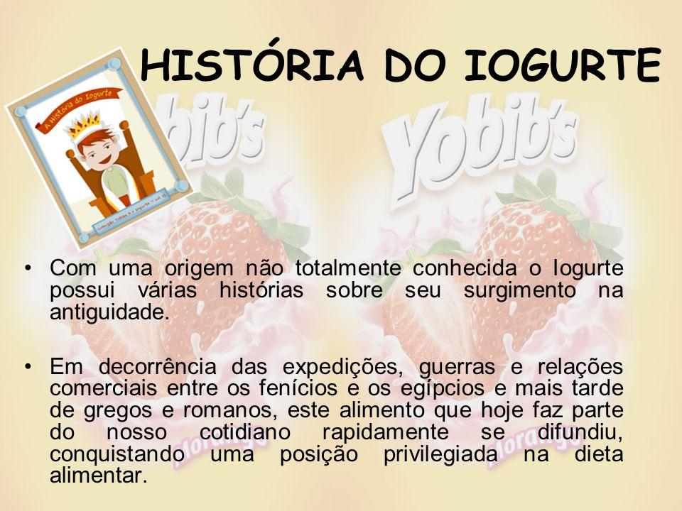 HISTÓRIA DO IOGURTE Com uma origem não totalmente conhecida o Iogurte possui várias histórias sobre seu surgimento na antiguidade.
