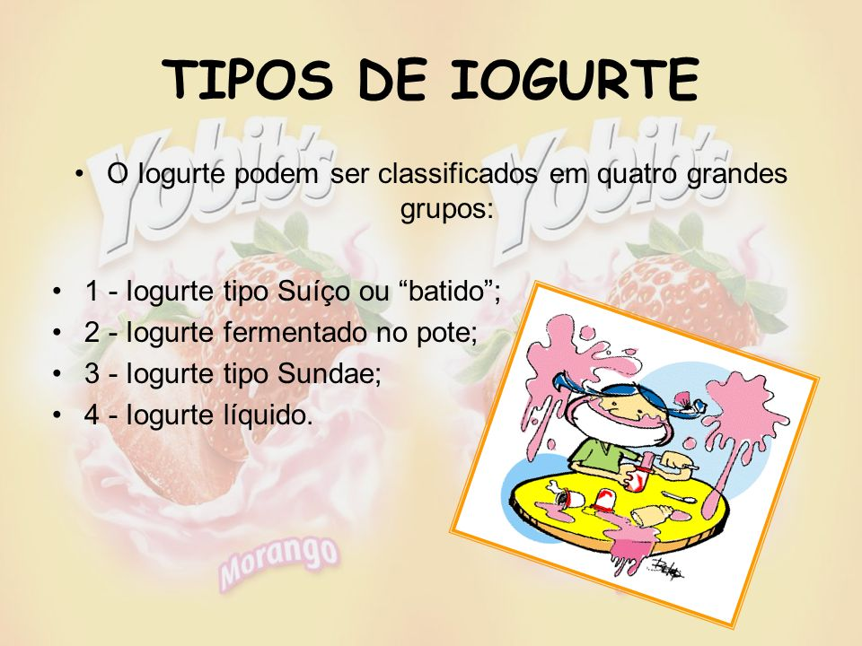 O Iogurte podem ser classificados em quatro grandes grupos: