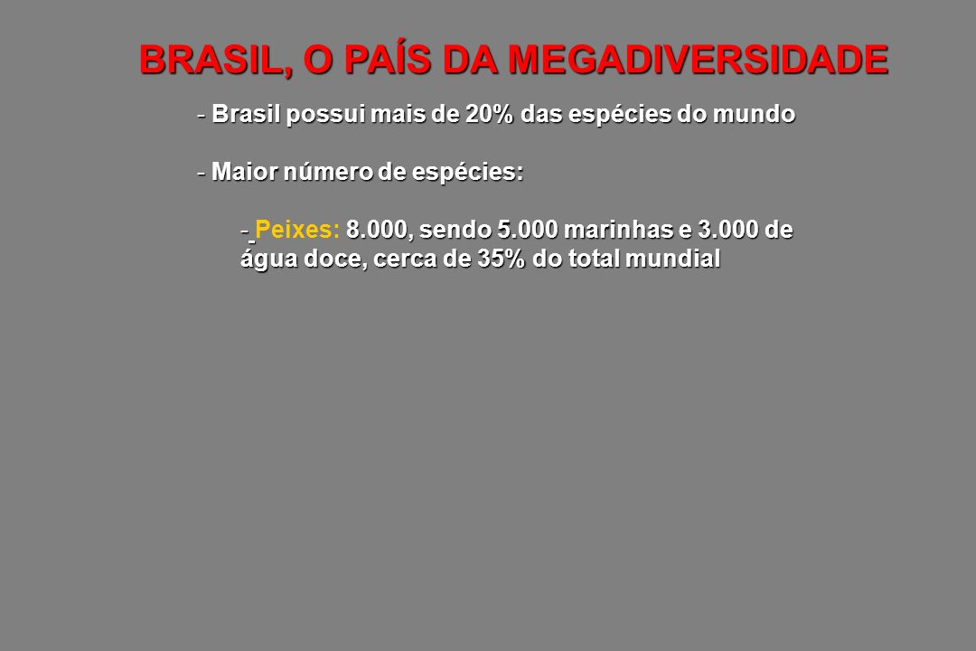BRASIL, O PAÍS DA MEGADIVERSIDADE