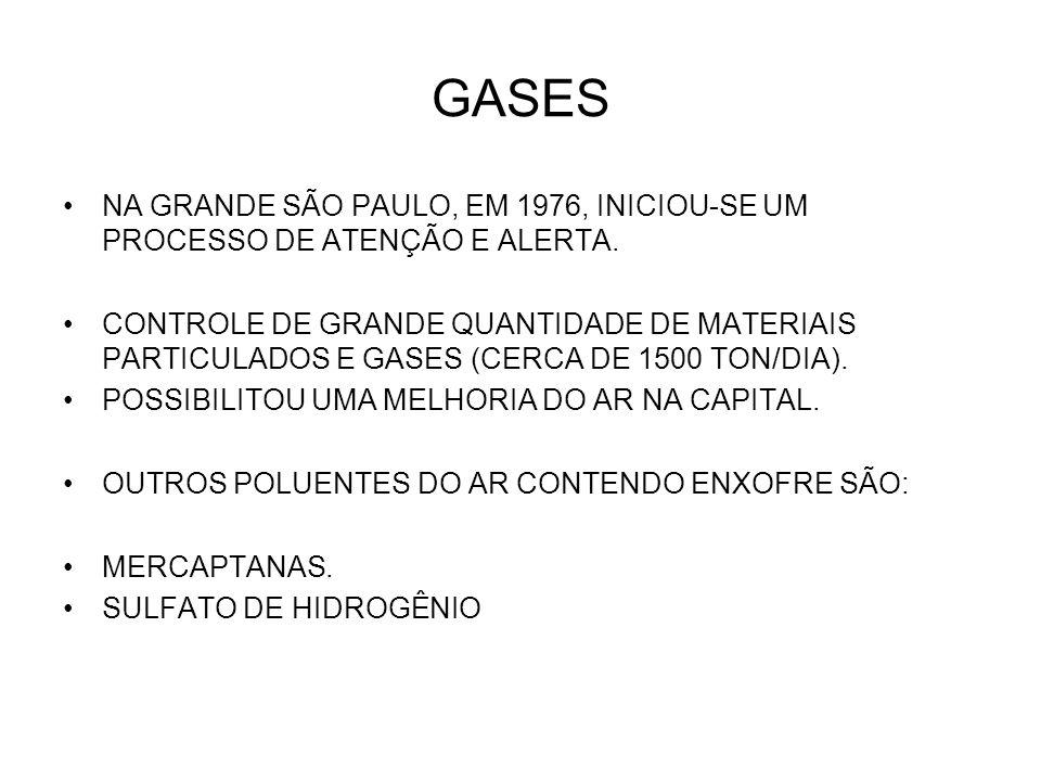 GASES NA GRANDE SÃO PAULO, EM 1976, INICIOU-SE UM PROCESSO DE ATENÇÃO E ALERTA.