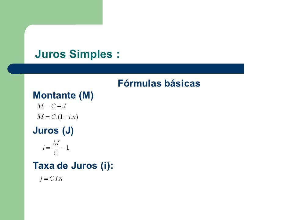 Juros Simples : Fórmulas básicas Montante (M) Juros (J)
