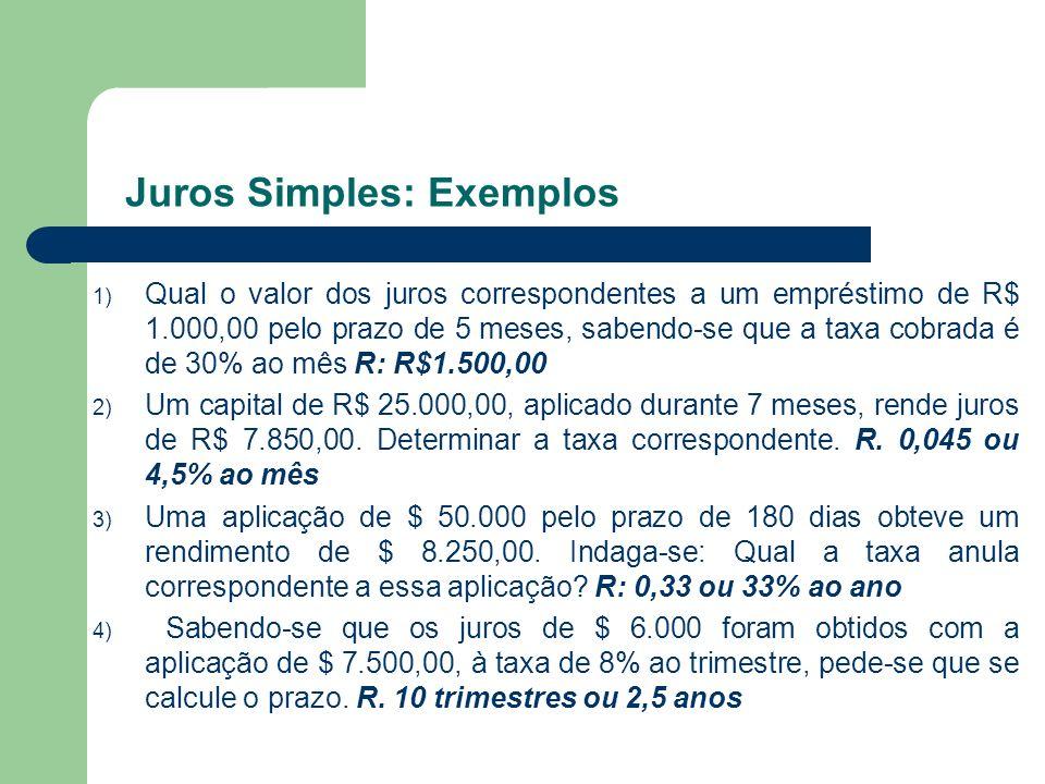 Juros Simples: Exemplos