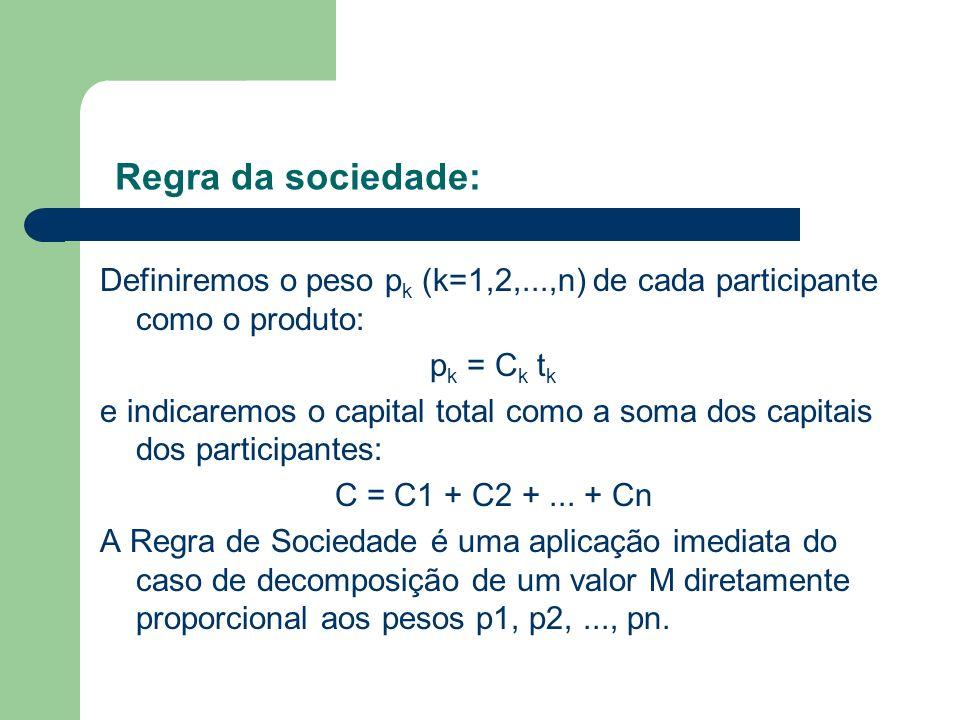 Regra da sociedade:Definiremos o peso pk (k=1,2,...,n) de cada participante como o produto: pk = Ck tk.