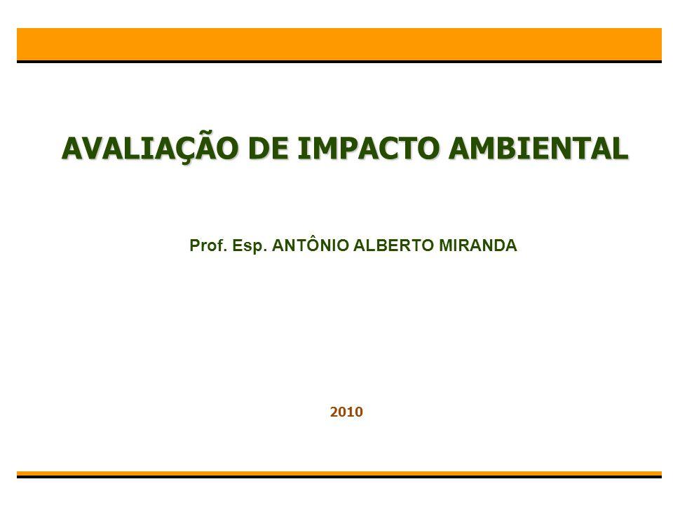AVALIAÇÃO DE IMPACTO AMBIENTAL Prof. Esp. ANTÔNIO ALBERTO MIRANDA