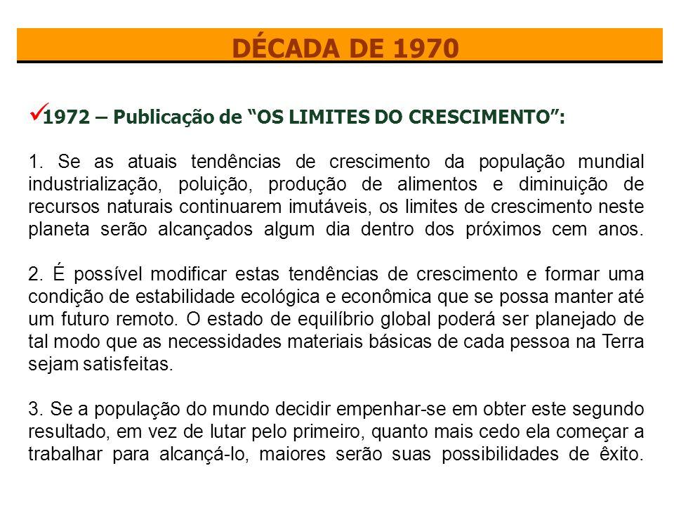 DÉCADA DE 1970 1972 – Publicação de OS LIMITES DO CRESCIMENTO :
