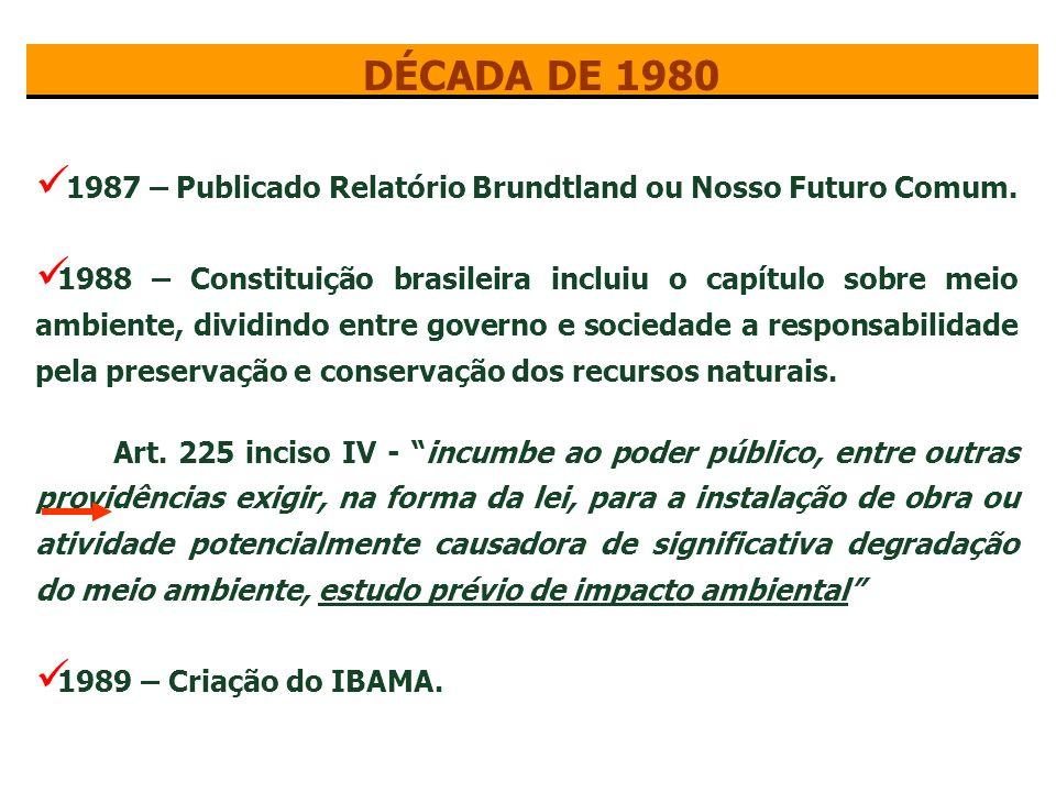 DÉCADA DE 1980 1987 – Publicado Relatório Brundtland ou Nosso Futuro Comum.