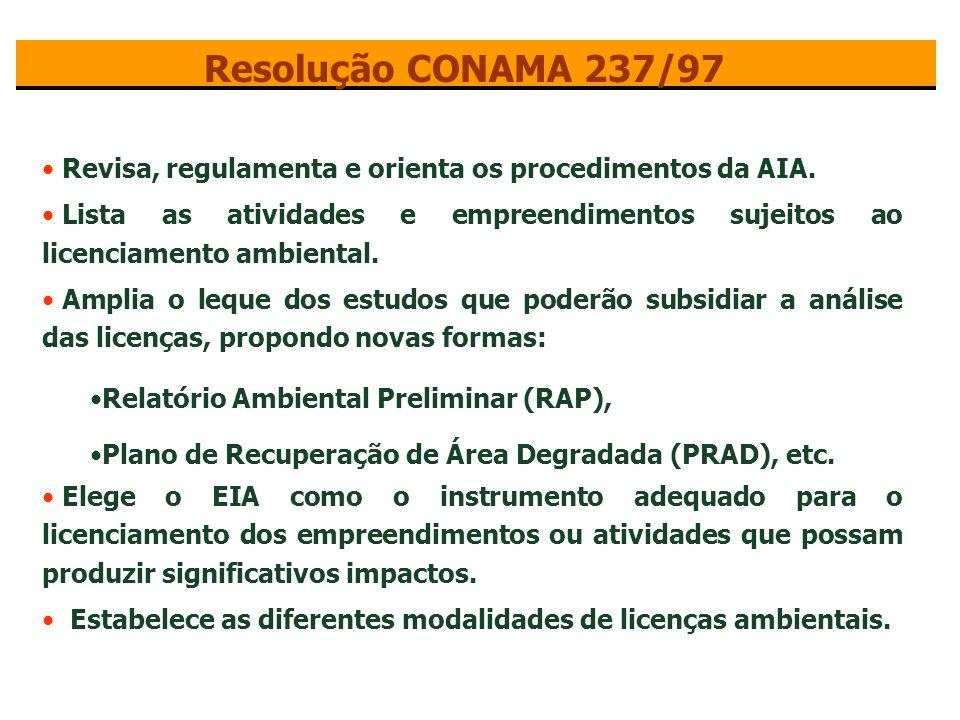Resolução CONAMA 237/97 Revisa, regulamenta e orienta os procedimentos da AIA.
