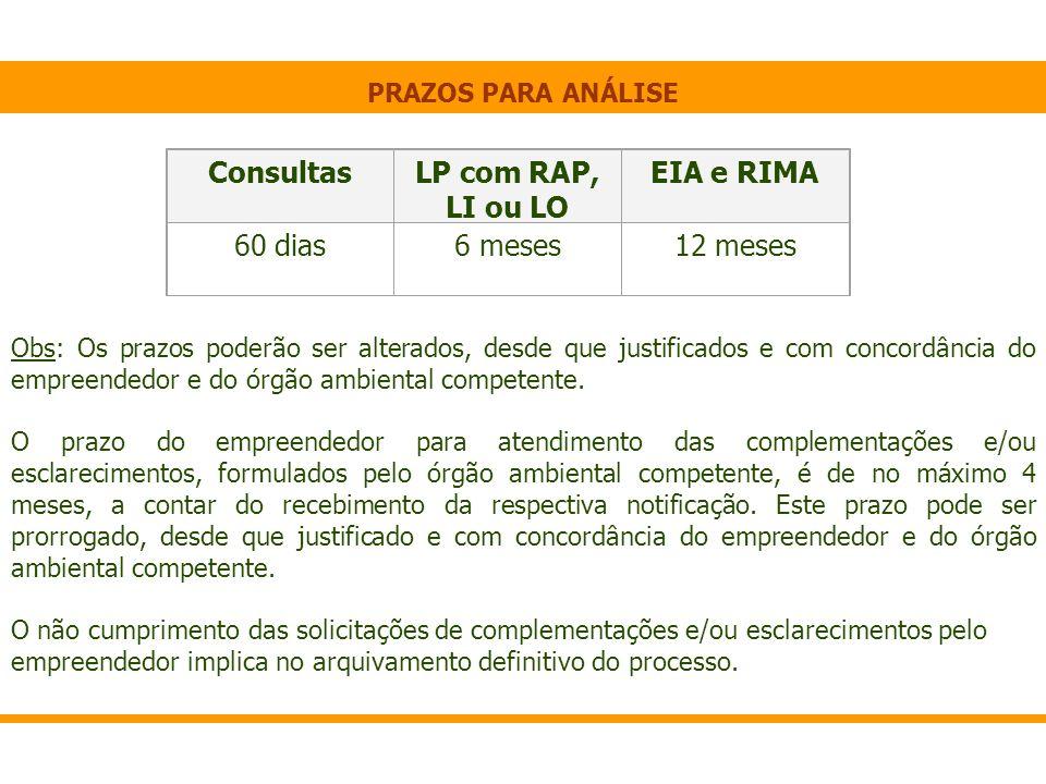 Consultas LP com RAP, LI ou LO EIA e RIMA 60 dias 6 meses 12 meses