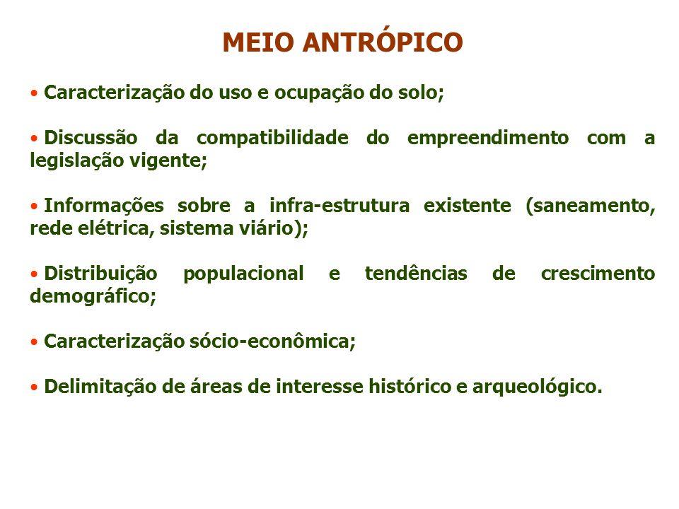 MEIO ANTRÓPICO Caracterização do uso e ocupação do solo;