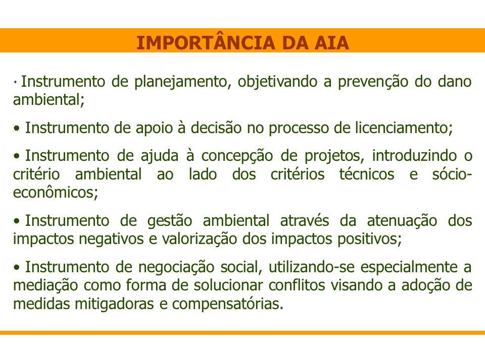 IMPORTÂNCIA DA AIA Instrumento de planejamento, objetivando a prevenção do dano ambiental;