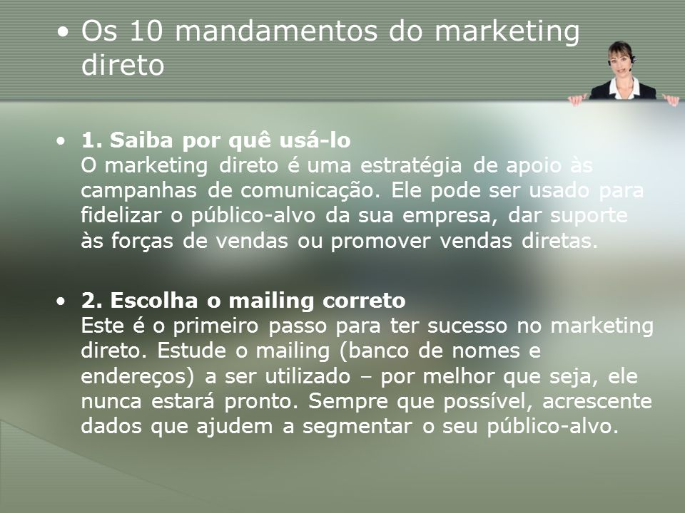 Os 10 mandamentos do marketing direto