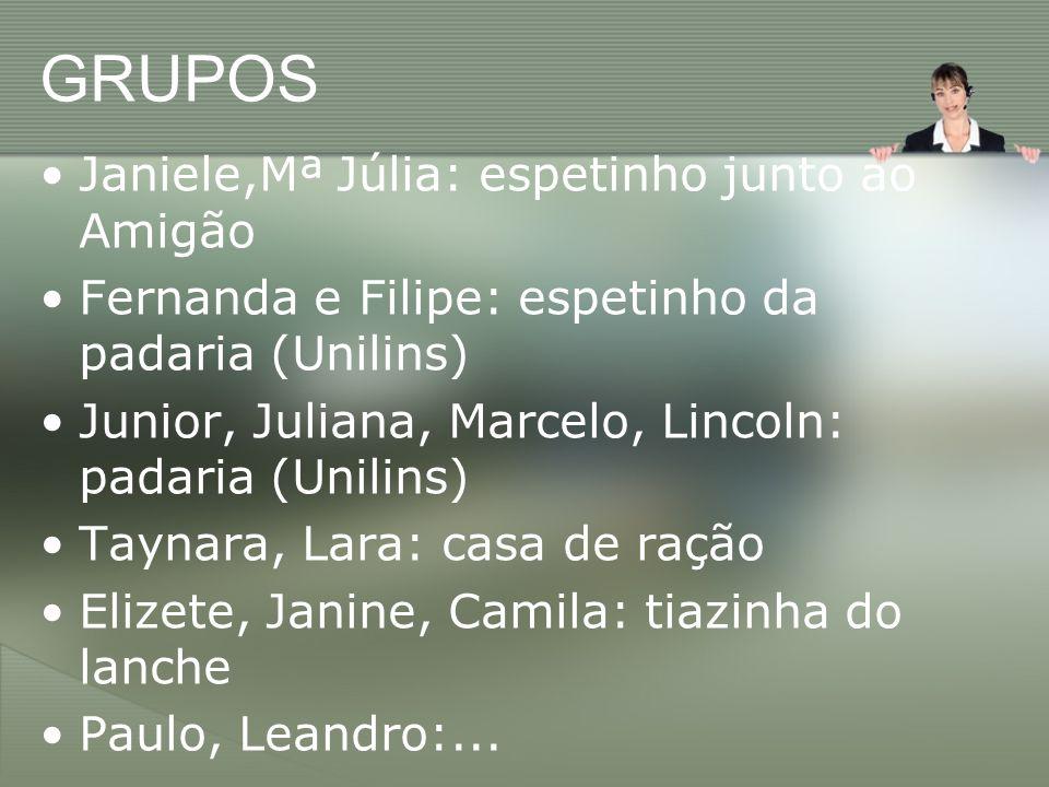 GRUPOS Janiele,Mª Júlia: espetinho junto ao Amigão