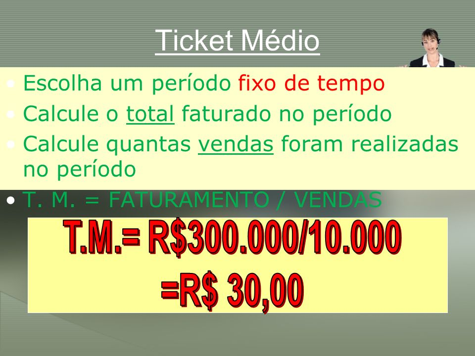 Ticket Médio T.M.= R$300.000/10.000 =R$ 30,00