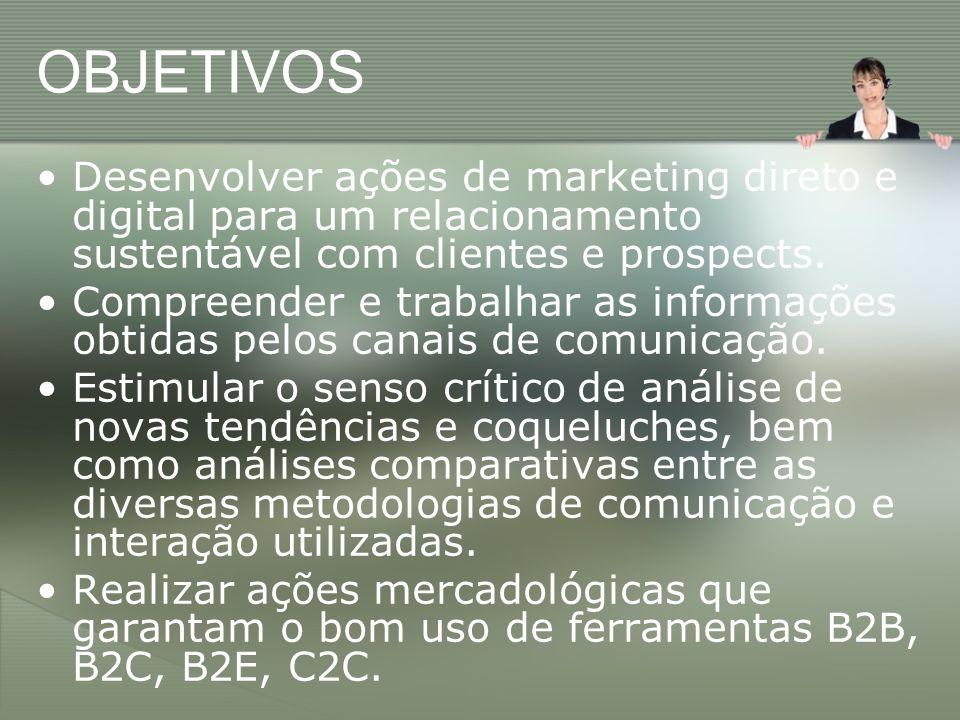 OBJETIVOS Desenvolver ações de marketing direto e digital para um relacionamento sustentável com clientes e prospects.