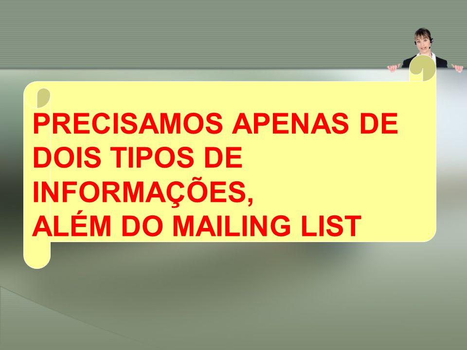 PRECISAMOS APENAS DE DOIS TIPOS DE INFORMAÇÕES, ALÉM DO MAILING LIST