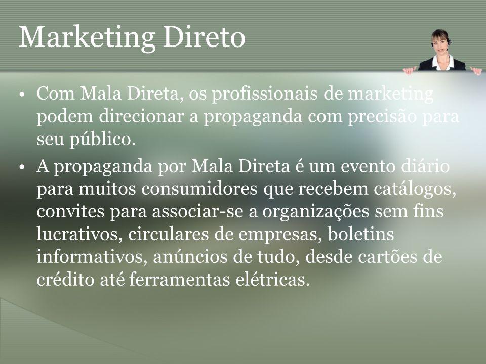 Marketing Direto Com Mala Direta, os profissionais de marketing podem direcionar a propaganda com precisão para seu público.