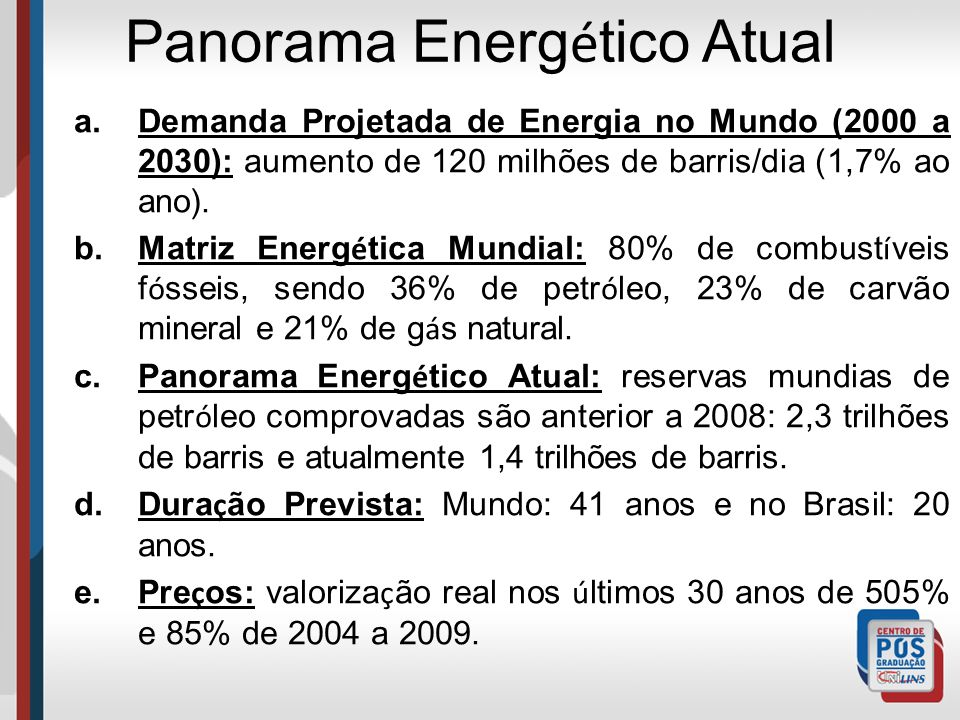 Panorama Energético Atual