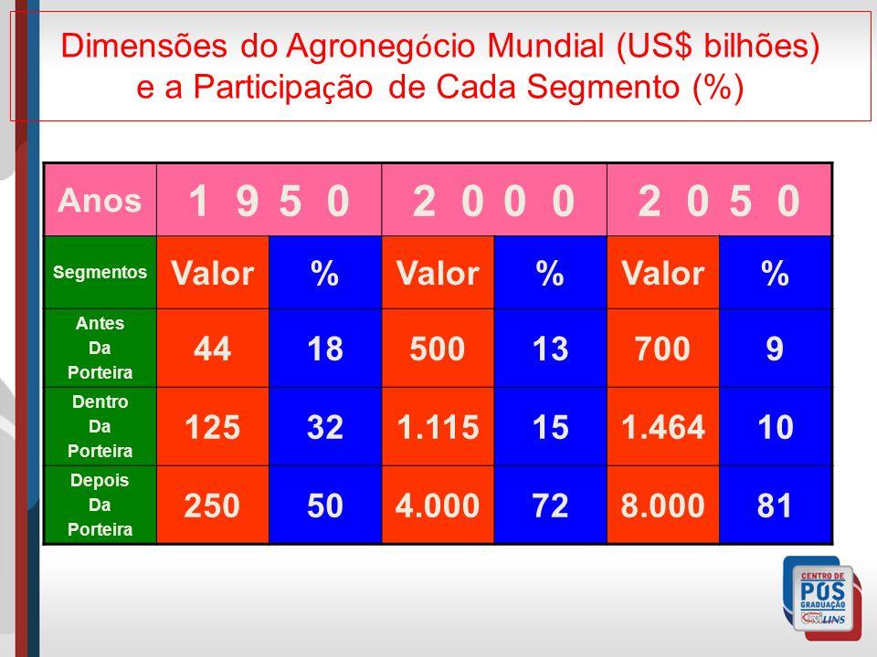 Dimensões do Agronegócio Mundial (US$ bilhões) e a Participação de Cada Segmento (%)