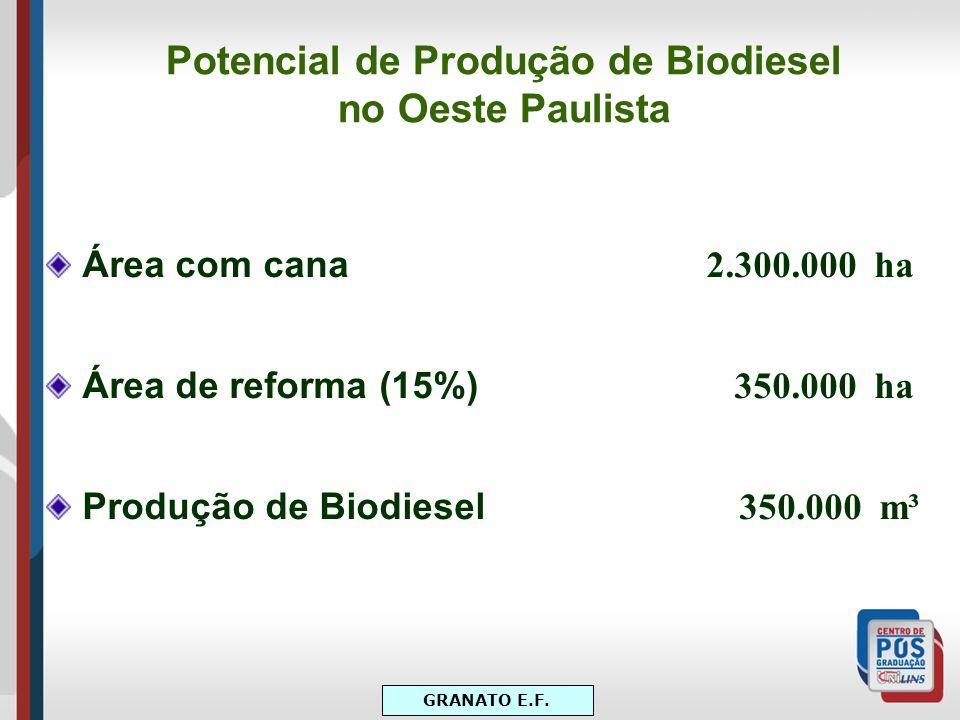Potencial de Produção de Biodiesel no Oeste Paulista