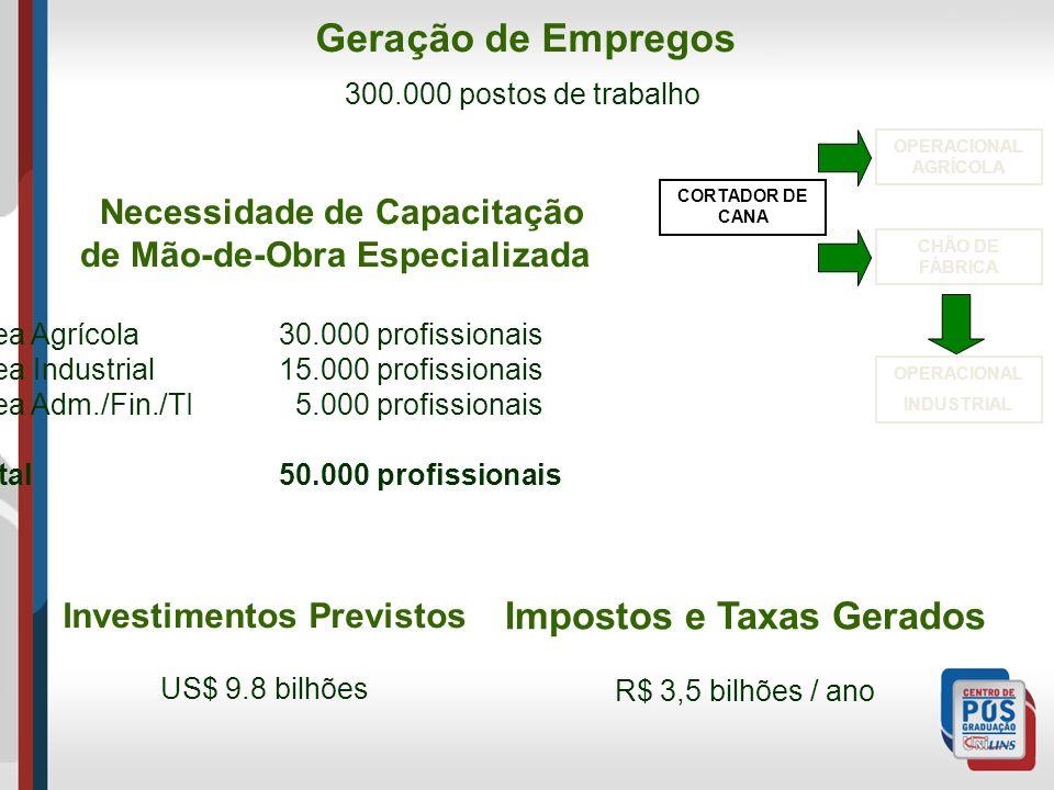 Investimentos Previstos Impostos e Taxas Gerados