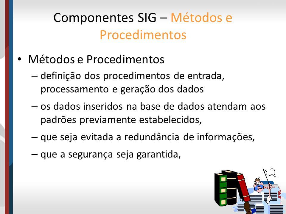 Componentes SIG – Métodos e Procedimentos