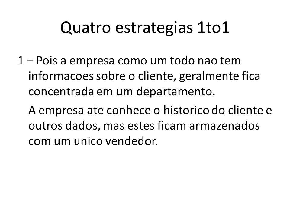 Quatro estrategias 1to1 1 – Pois a empresa como um todo nao tem informacoes sobre o cliente, geralmente fica concentrada em um departamento.