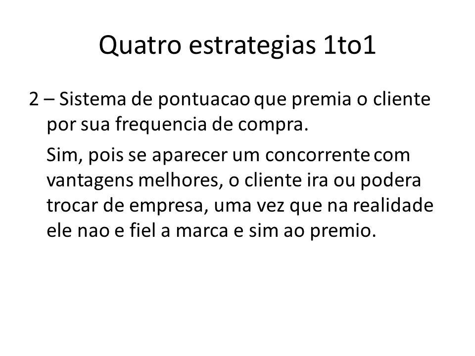 Quatro estrategias 1to1 2 – Sistema de pontuacao que premia o cliente por sua frequencia de compra.