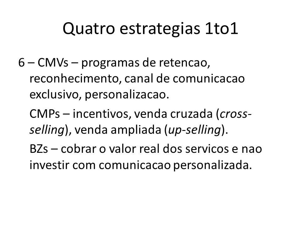 Quatro estrategias 1to16 – CMVs – programas de retencao, reconhecimento, canal de comunicacao exclusivo, personalizacao.