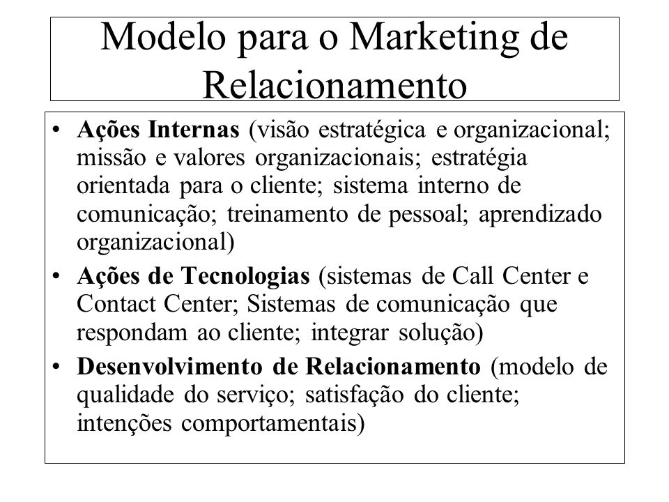 Modelo para o Marketing de Relacionamento
