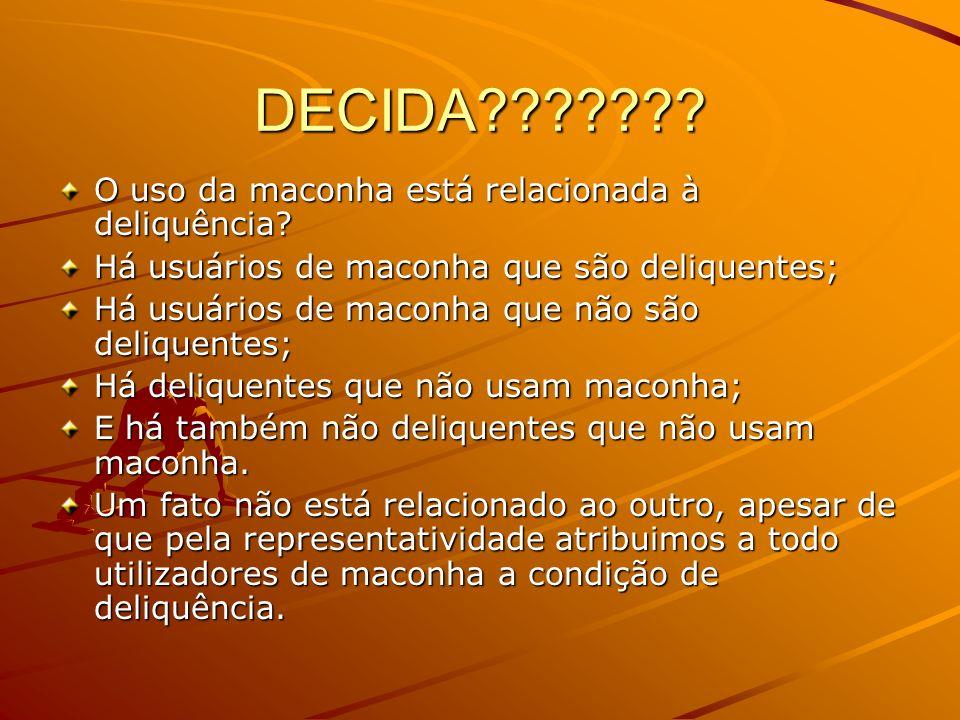 DECIDA O uso da maconha está relacionada à deliquência