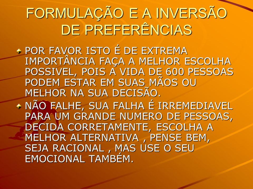 FORMULAÇÃO E A INVERSÃO DE PREFERÊNCIAS