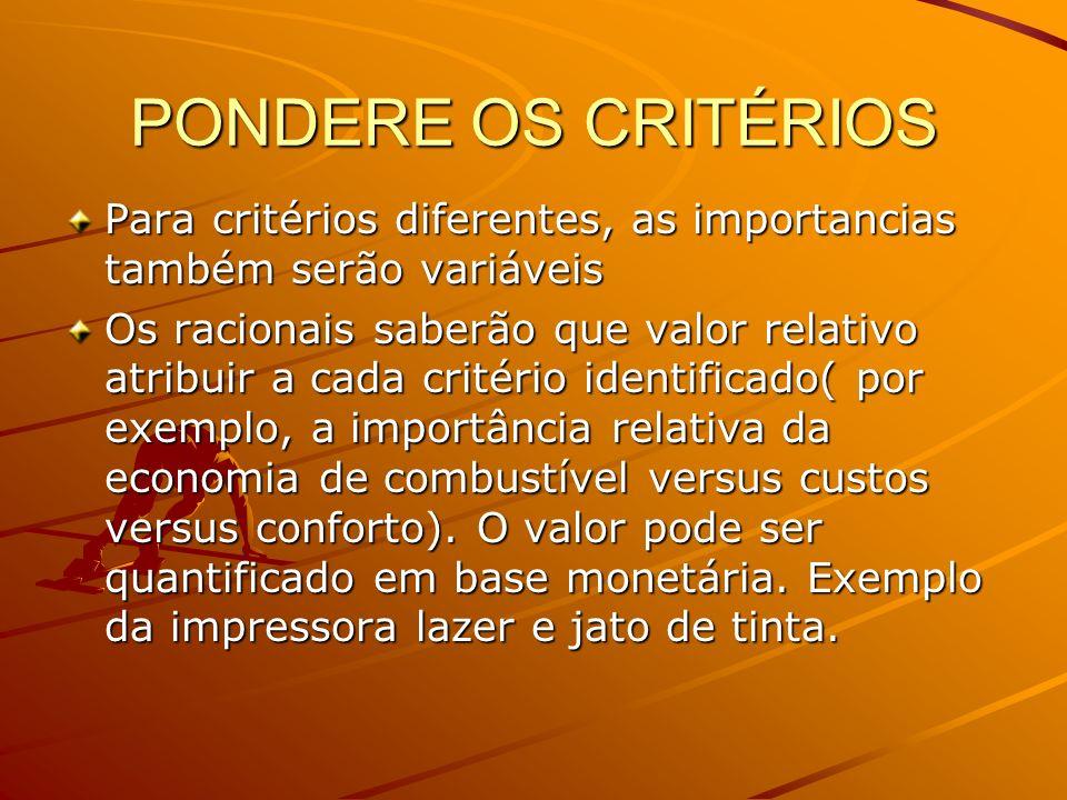 PONDERE OS CRITÉRIOS Para critérios diferentes, as importancias também serão variáveis.