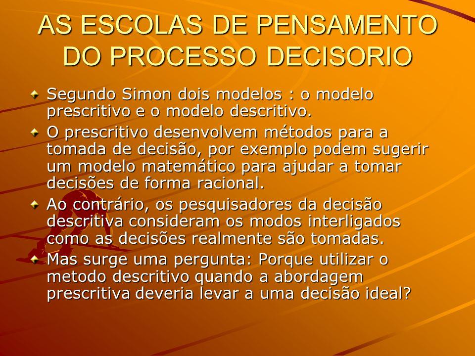 AS ESCOLAS DE PENSAMENTO DO PROCESSO DECISORIO