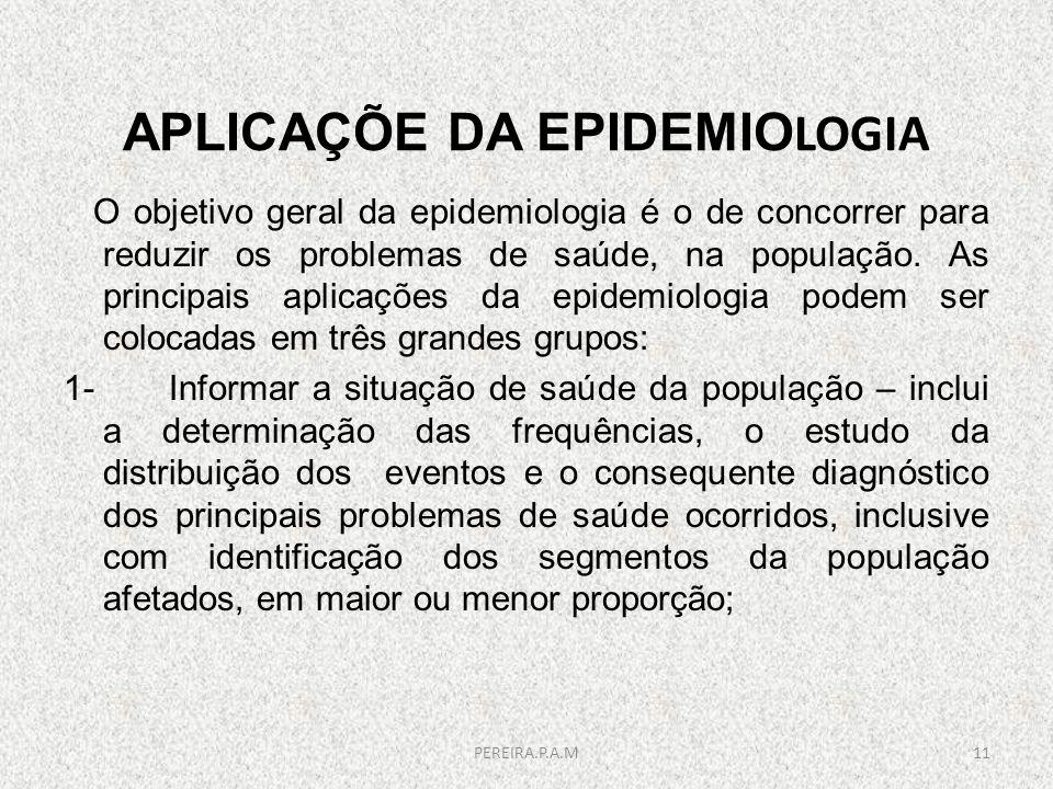 APLICAÇÕE DA EPIDEMIOLOGIA