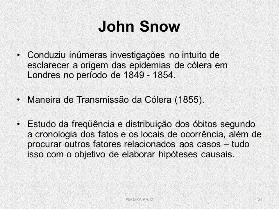 John Snow Conduziu inúmeras investigações no intuito de esclarecer a origem das epidemias de cólera em Londres no período de 1849 - 1854.