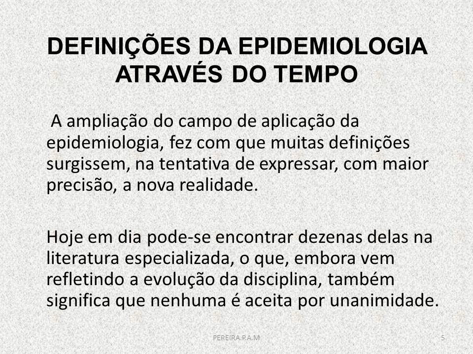DEFINIÇÕES DA EPIDEMIOLOGIA ATRAVÉS DO TEMPO