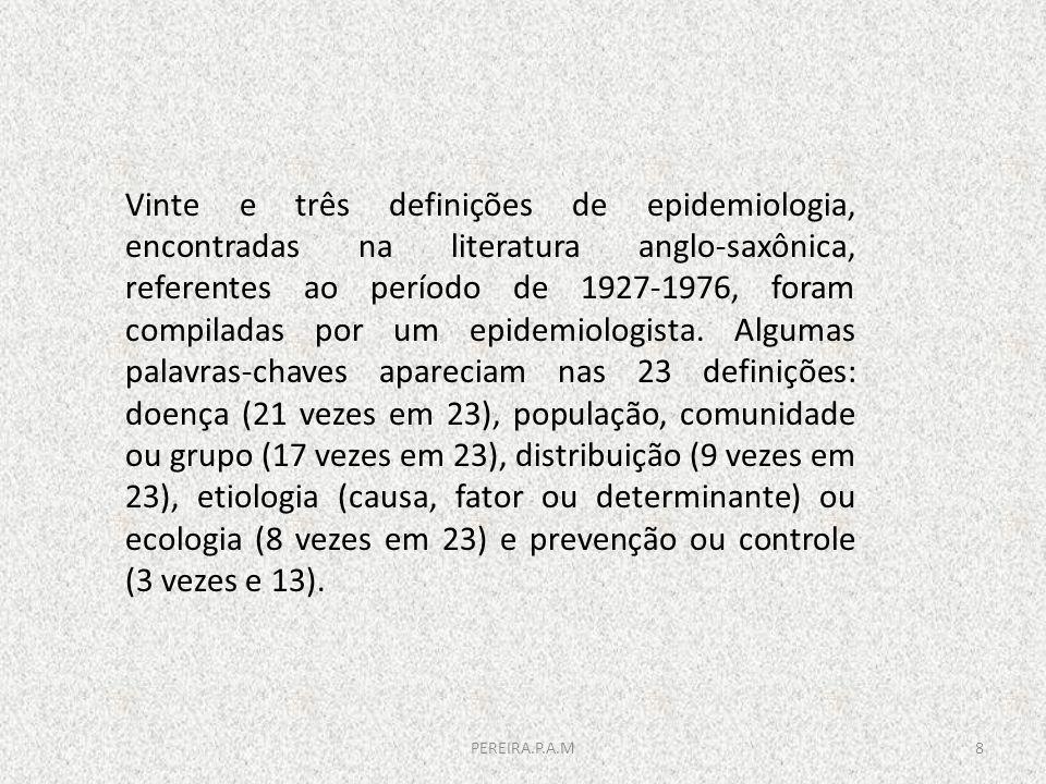 Vinte e três definições de epidemiologia, encontradas na literatura anglo-saxônica, referentes ao período de 1927-1976, foram compiladas por um epidemiologista. Algumas palavras-chaves apareciam nas 23 definições: doença (21 vezes em 23), população, comunidade ou grupo (17 vezes em 23), distribuição (9 vezes em 23), etiologia (causa, fator ou determinante) ou ecologia (8 vezes em 23) e prevenção ou controle (3 vezes e 13).