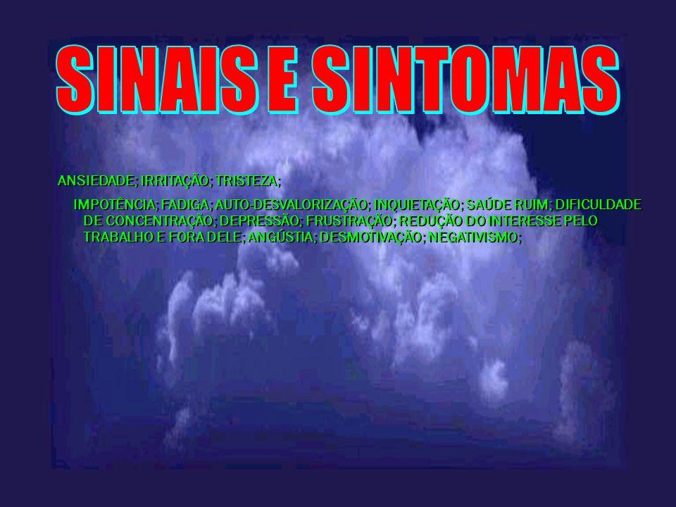 SINAIS E SINTOMAS ANSIEDADE; IRRITAÇÃO; TRISTEZA;