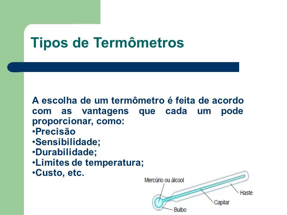 Tipos de TermômetrosA escolha de um termômetro é feita de acordo com as vantagens que cada um pode proporcionar, como: